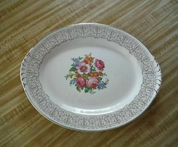 Serving Plate Flower pattern with rose Nautilus Made U.S.A. Dish - $17.33