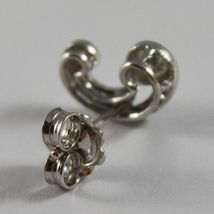SOLID 18K WHITE GOLD EARRINGS, ETHNYC STYLE WITH DIAMONDS, DIAMOND MADE IN ITALY image 3