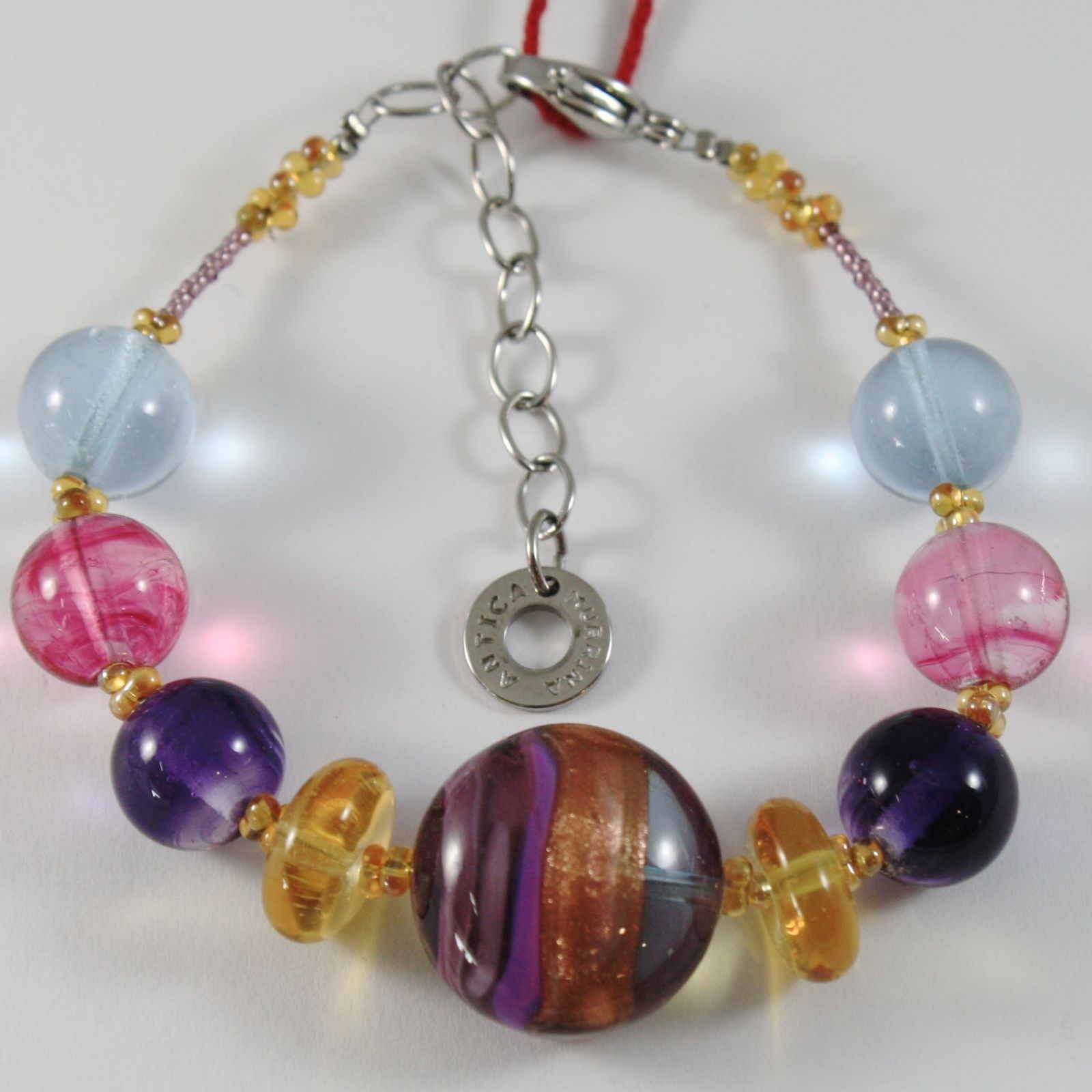 ANTICA MURRINA VENEZIA BRACELET BIG PURPLE FINELY STRIPED DISC, PINK