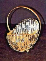Heavy Glass Basketwith Metal Carrier with handle / Leaf DesignAA18-11912 Vint image 5
