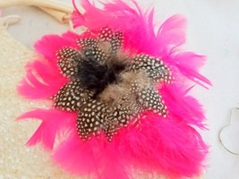 Feather Brooch Dress Pin Hat Pin Hot Pink Duck Feathers Black White Guinea - $18.65
