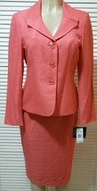 Le Suit Women's Coral Cabana Orange Tweed Pleated Collar Skirt Suit Peti... - $68.31
