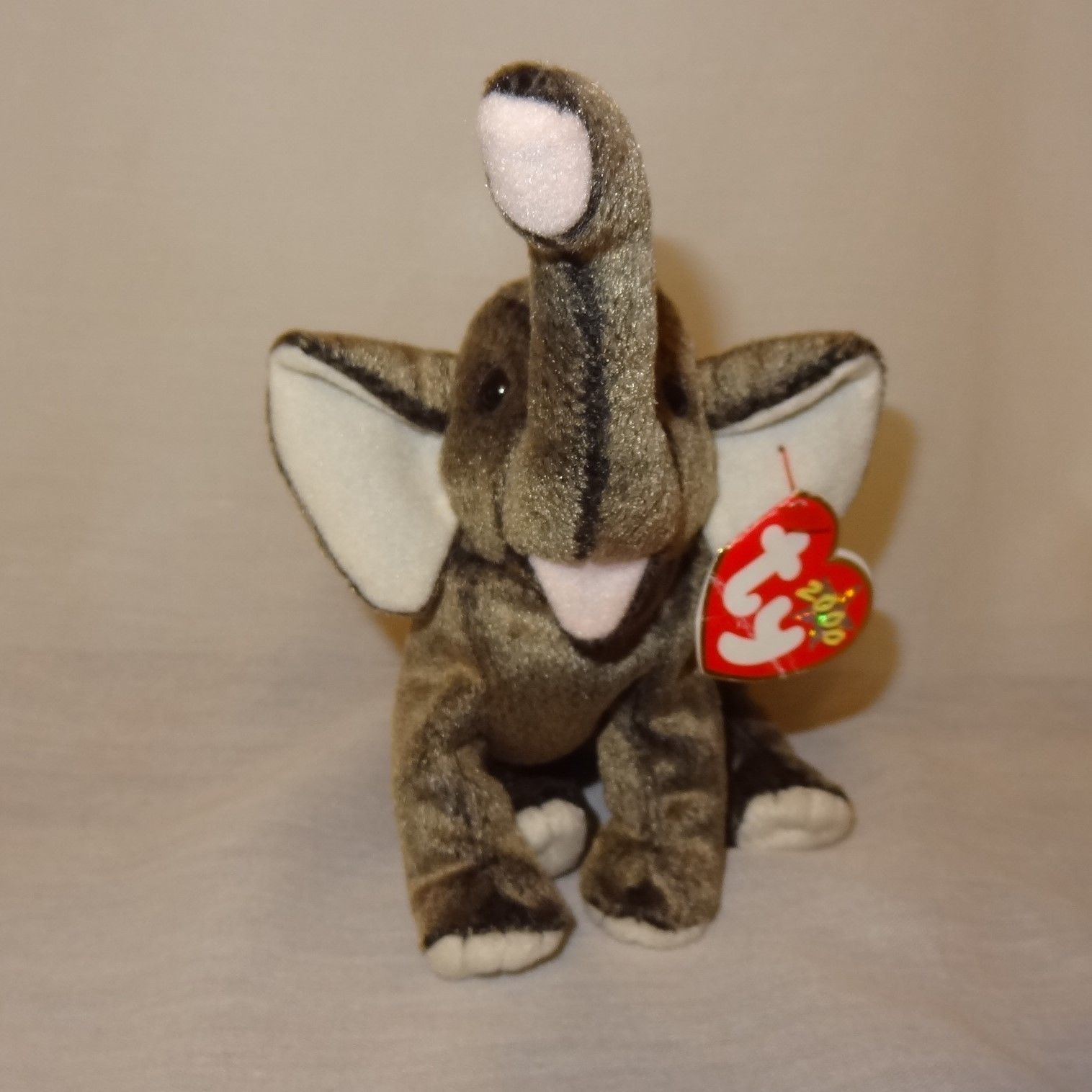 "Trumpet Elephant Ty Beanie Babies Collection Plush Stuffed Animal 5"" 2000"