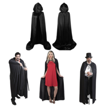 Adult Hooded Cape Mens or Womens Costume Halloween Suit Role Play Black - $19.27