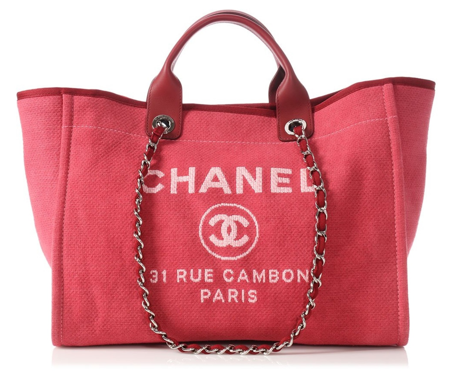 56df20e0462c AUTHENTIC CHANEL DARK PINK RED CANVAS LARGE DEAUVILLE 2 WAY TOTE BAG ...