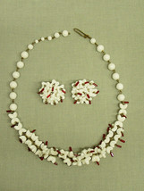 Vintage Milk Glass Necklace Earring Set West Germany white red Costume J... - $17.10