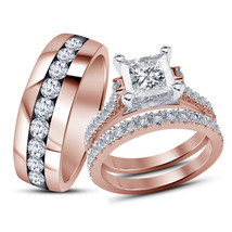 14k Rose Gold Finish 925 Sterling Silver His & Her Wedding Diamond Trio ... - $154.99