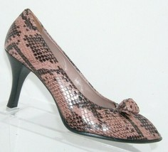 Franco Sarto pink leather snake print peep toe floral slip on stacked he... - $33.30