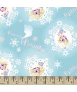 Disney Frozen Elsa Powerful Beauty Badge Aqua 100% cotton fabric by the ... - $7.35
