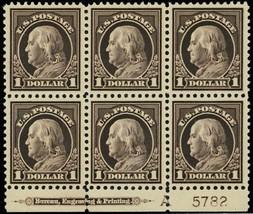 518, Mint XF NH $1 Plate Block of Six Stamps Cat $2,100.00 - Stuart Katz - $1,400.00