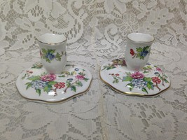 Vintage, England, 2pc Crown Staffordshire GaudyBlue Willow Candle Holder - $52.20