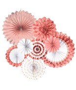 Rose Gold Paper Fans Decorations Bridal Shower Birthday Fiesta Party Sup... - $8.59+