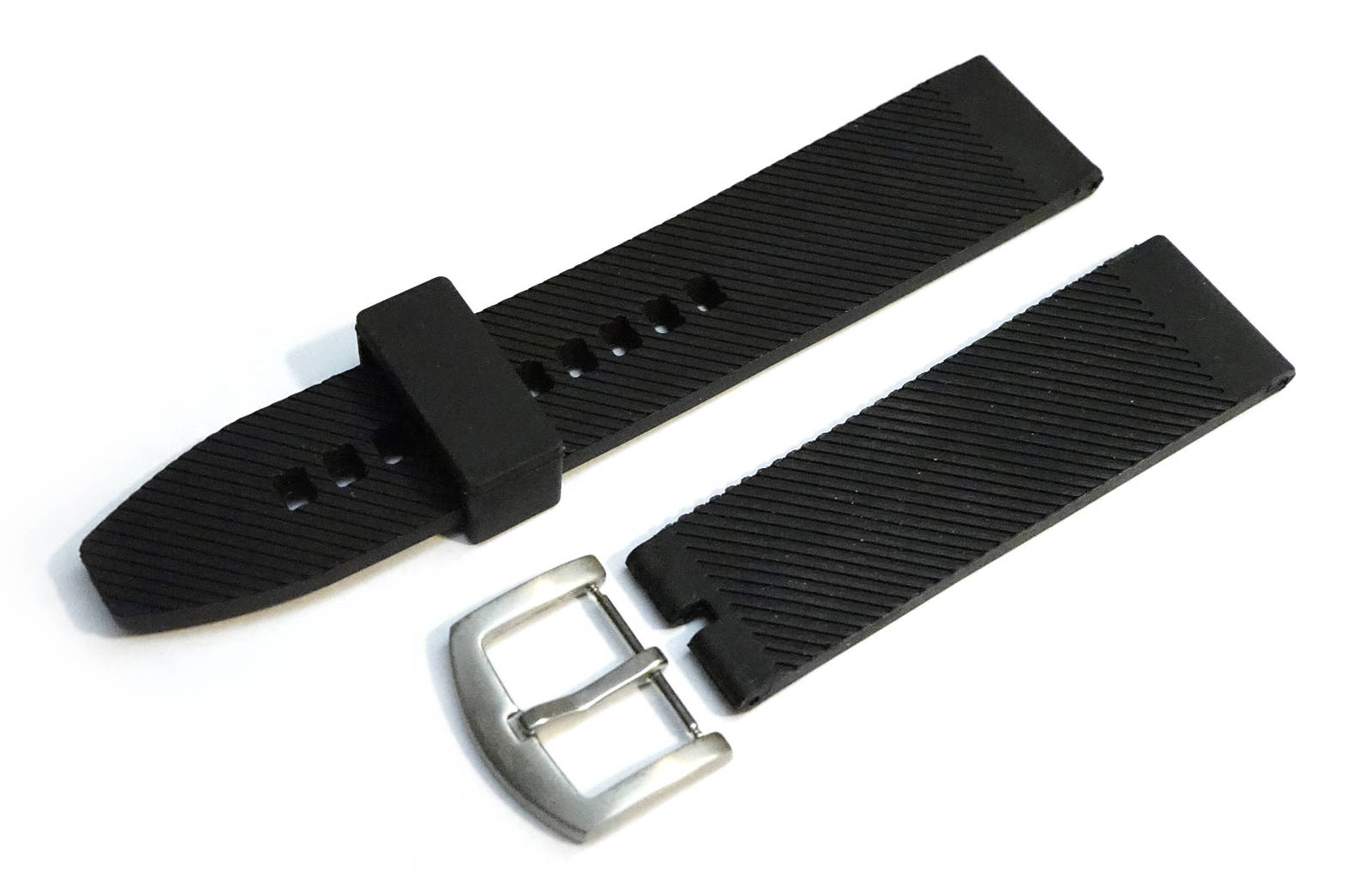 BREITLING Black 24mm 22mm Silicone Rubber Diver Watch Band Replacement Strap FRO