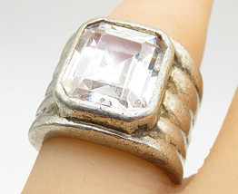 925 Silver - Vintage Faceted Topaz Wide Ribbed Band Cocktail Ring Sz 6 - R8775 - $43.21