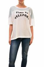 Wildfox Damen Authentic Time To Teleport Shirt Weiß Größe S UVP £ 97 BCF83 - $55.82