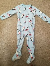 CARTER'S Blue Skiing Penguin Footed Fleece Blanket Sleeper Boys Size 24 months - $4.66