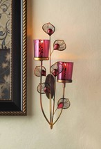 Pretty PEACOCK WALL SCONCE Iron Faceted Jewels Glass Candle Holder 10018269 - $21.34