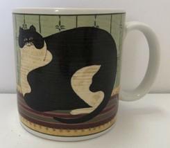 Warren Kimble Cat Collection Sakura Fat Black & White Coffee Mug Cup 2000 - $14.84