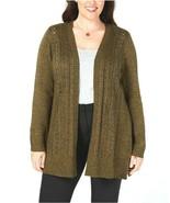 Karen Scott Women's Olive Marled Open Front Cardigan Sweater Plus Size 0... - $15.49