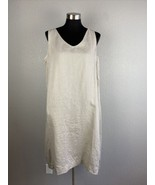 Pure J Jill Womens Shift Dress L Large Petite Beige Linen V Neck Pockets... - $98.99