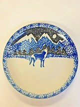 "Tienshan Folk Craft WOLF 10.5"" Dinner Plates. Blue, Black, Stoneware Sponge - $8.90"