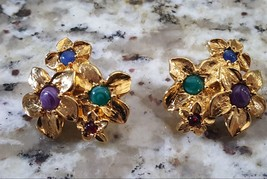 Vintage Gold Plated Clip Earrings Signed Avon  - $8.50