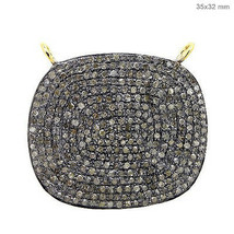 New 14K Gold Vintage Connector 925 Sterling Silver Pave Diamond Jewelry ... - $611.16