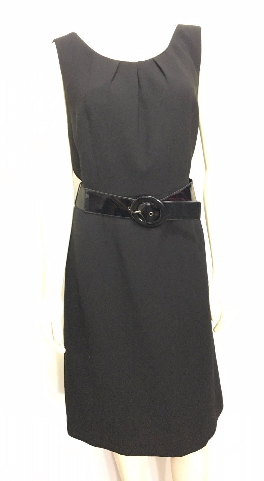 94d8657dfbc91 Tahari Arthur S Levine Womens 12 Black Sleeveless Belted Knee-Length Dress  LBD - $47.53