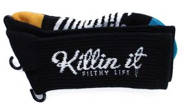 Filthy Dripped Killin' It Sock Black Or Teal Filthy D Contrast O/S Crew Socks image 4