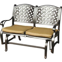 Patio bench love seat Nassau Cast Aluminum furniture Outdoor glider Couch Bronze image 1