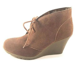 White Mountain Icon Chestnut Suede Leather Wedge Lace Up Ankle Booties Size 10 - £21.82 GBP