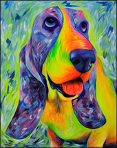 Dog Art Print - Basset Hound Art - Daisy Mable the Basset - $13.99