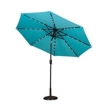 9 Foot Outdoor Color Changing Solar Lighted Patio Umbrella w/Tilt Blue C... - $233.90 CAD