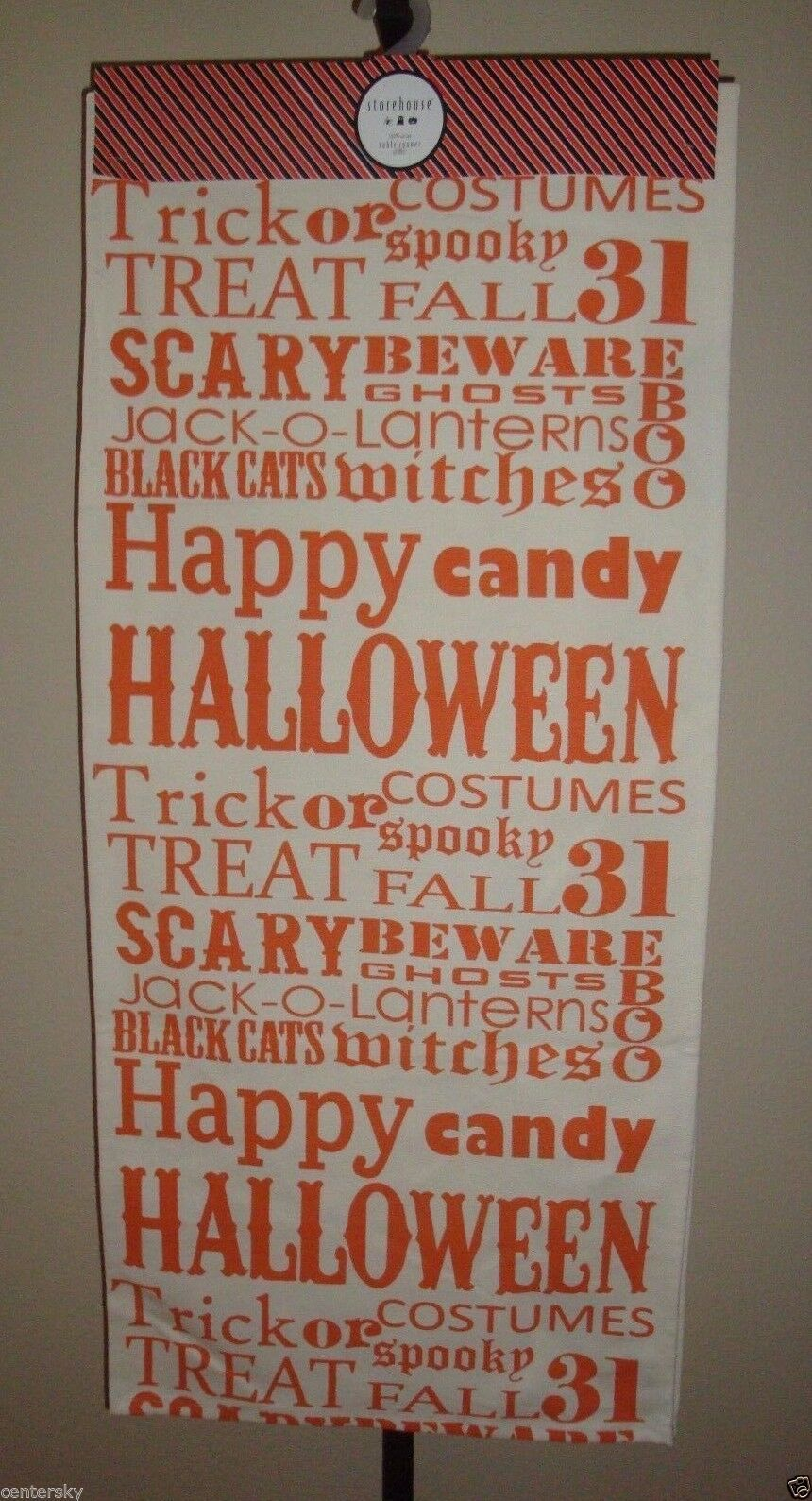 "New Storehouse 100% Cotton Table Runner 18"" x 80"" Halloween Theme Ivory/Orange"