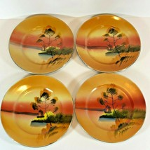 """Hand Painted 5"""" Plates Set Of 4 Windmill Sunset Pattern Made In Japan  (... - $11.76"""
