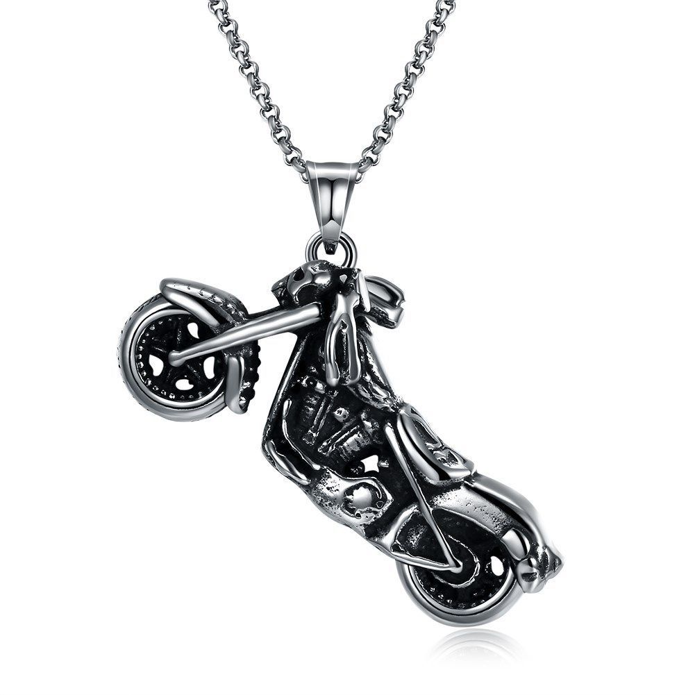Skeleton Motorcycle Stainless Steel Handmade Necklace Pendant Fashion Jewelry