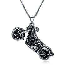Skeleton Motorcycle Stainless Steel Handmade Necklace Pendant Fashion Je... - $14.69