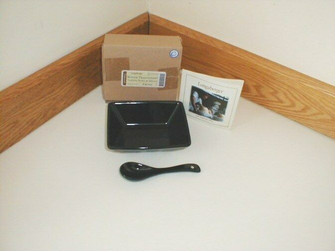 Longaberger Pottery Small Tasting Bowl Dish & Spoon Ebony Black Special Order