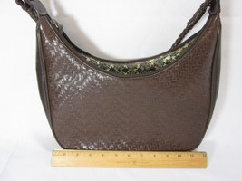 LIZ CLAIBORNE Brown Woven Leather Triple-Section w/Braided Handle Handbag - $24.74