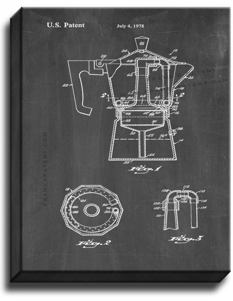 Primary image for Coffee Brewing Device Patent Print Chalkboard on Canvas