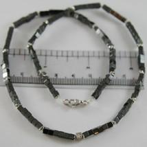 Halskette Giadan aus Silber 925 Hämatit Glänzend und 8 Rauten Weiß Made in Italy image 2