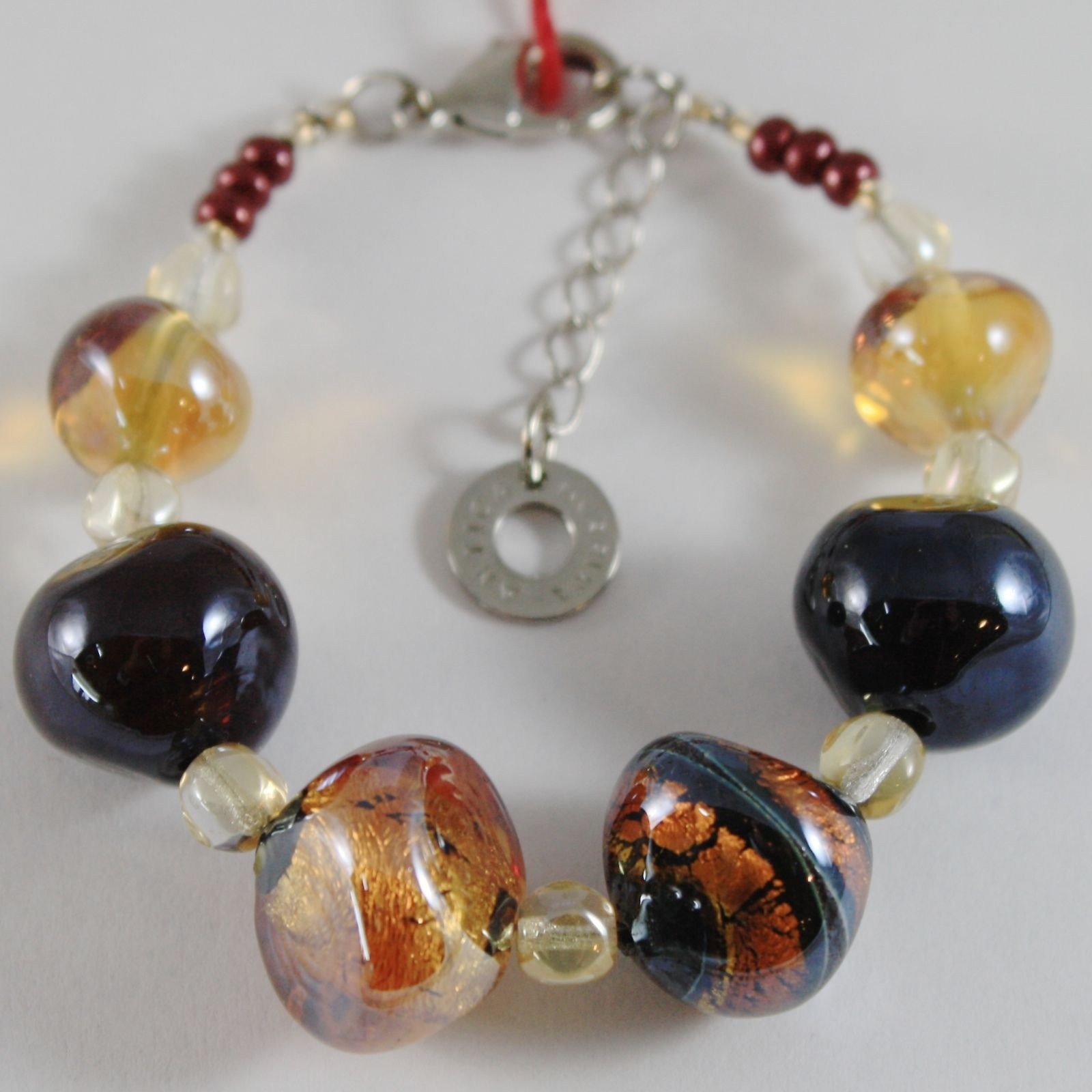 ANTICA MURRINA VENEZIA BRACELET MULTICOLOR, BIG AMBER AND BLACK NUGGETS