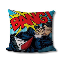 Pop Art Pillow - Comic Book - Gifts For Dad - Bang - Pop Art Print - Superhero D - $14.99
