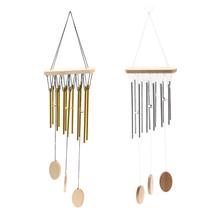 (gold)2 Tubes Bells Copper Wind Chimes Outdoor Living Yard Garden Decor Musical  - $20.00