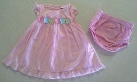 Girl's Sz 0-3 M Months Pink Floral Embroidered Ruffled Dress Set Polly F... - $18.00