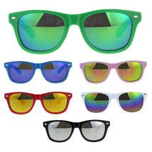 Kids Mirrored Lens Classic Retro Plastic Horn Rim Hipster Sunglasses - $9.95
