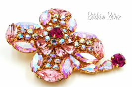 Kramer Rhinestone Brooch Vintage Delicate Shades of Cotton Candy Pink   - $133.00