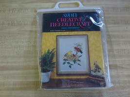 "Vintage Avon SCARLET TANAGERS PICTURE Crewel Embroidery Kit  - 14"" x 18"" - $9.90"