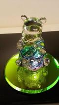 "Vintage Disney Arribas Bros 3"" Winnie the Pooh w/Hunny Pot Glass Mirror Figurine - $32.85"