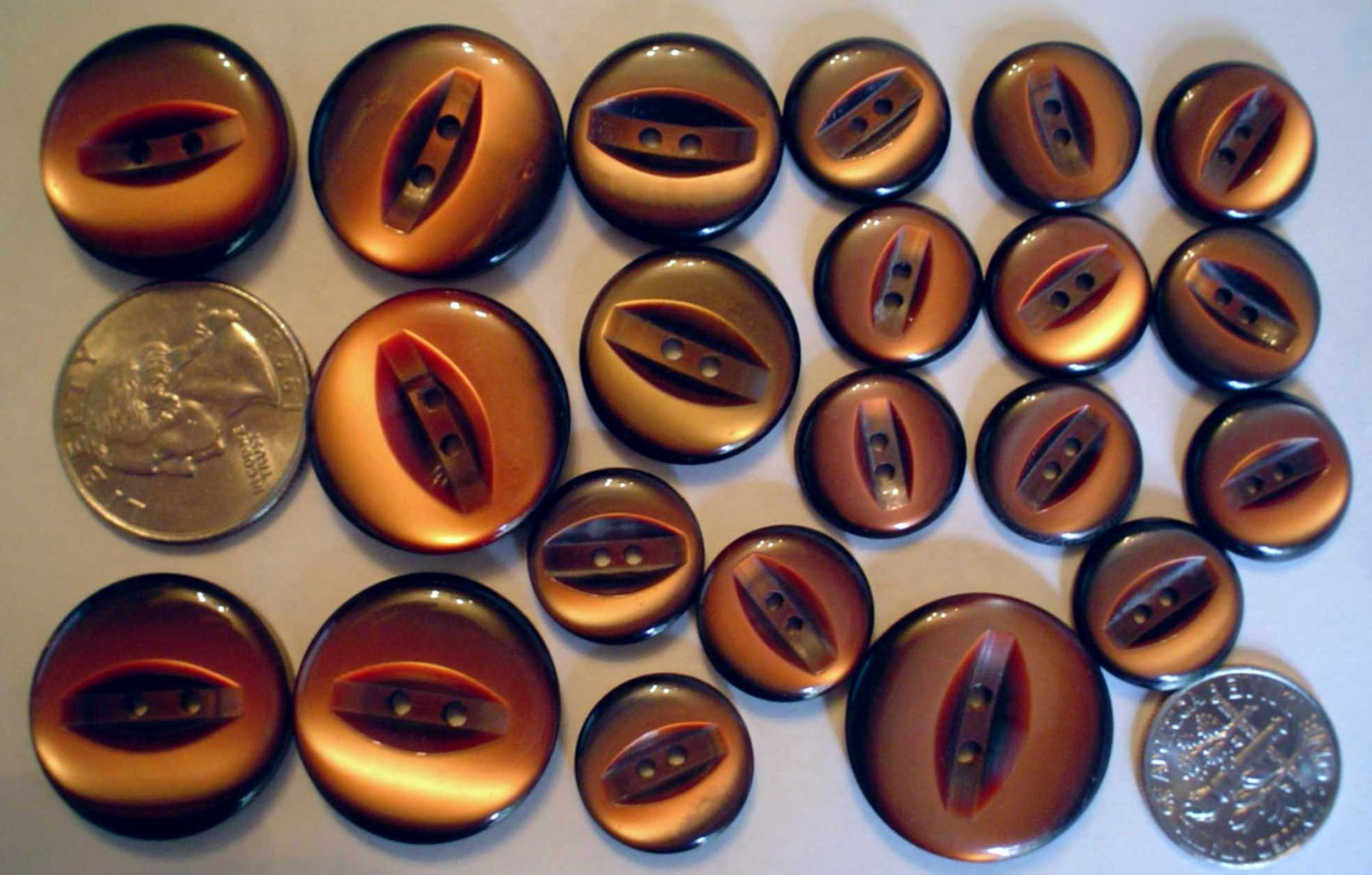 Auction 4852 21 unk buttons brown 2 hole modern 70s maybe